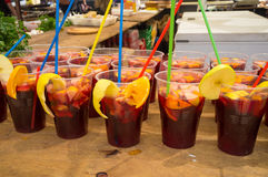 Sangria. Many glasses with freshly made Spanish sangria stock image