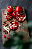 Sangria med äpplet och granatäpplet Fotografering för Bildbyråer