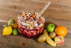Sangria punch bowl with fruits Royalty Free Stock Photos