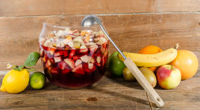 Sangria punch bowl with fruits Royalty Free Stock Image