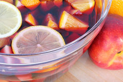 Sangria red wine with fruits Royalty Free Stock Image