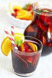 Sangria red wine with fruits Stock Photography