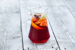 Sangria with red wine. In a jug on the boards Royalty Free Stock Image