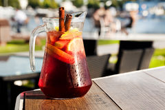 Sangria with red wine. In a jug on the boards royalty free stock photography