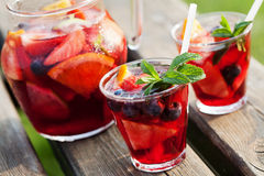 Sangria. Refreshing sangria (punch) with fruits, picnic idea royalty free stock photo