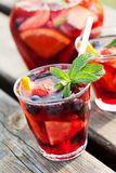 Sangria. Refreshing sangria (punch) with fruits, picnic idea stock photos