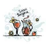 Sangria, spanish drink. Sketch for your design Royalty Free Stock Image