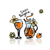 Sangria, spanish drink. Sketch for your design Royalty Free Stock Photos