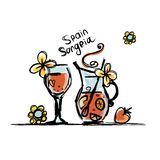 Sangria, spanish drink. Sketch for your design Stock Images
