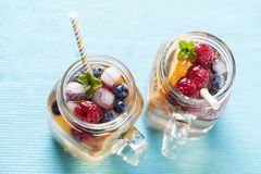 Sangria. Summer refreshing drink with fruit variety, white sangria stock image