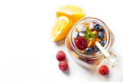Sangria. Summer refreshing drink with fruit variety, white sangria royalty free stock images