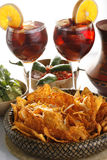 Sangria, tortilla chips and mole Royalty Free Stock Image
