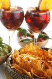 Sangria, tortilla chips and mole Royalty Free Stock Photo