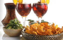 Sangria, tortilla chips and mole Stock Photography