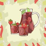 Sangria. Traditional spanish alcohol drink. Hand drawn jug and glass royalty free illustration