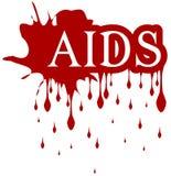 Sangue isolado do gotejamento da palavra do SIDA Imagem de Stock