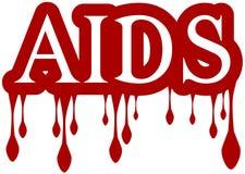 Sangue isolado do gotejamento da palavra do SIDA Imagens de Stock Royalty Free