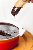 Sanguinaccio chocolate sause with Savoiardi Stock Image