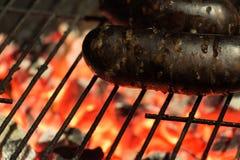 Sanguinaccio spagnolo sulla griglia ardente del barbecue Immagine Stock Libera da Diritti