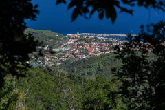 Sanguinaire Inseln und Parata ragen in Korsika, Frankreich hoch Stockfoto