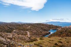Sanguinaire Inseln und Parata ragen in Korsika, Frankreich hoch Stockfotografie