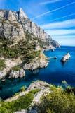 Sanguinaire Inseln und Parata ragen in Korsika, Frankreich hoch Stockbilder