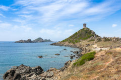 Sanguinaires bloodthirsty Islands hiking path in Corsica, France Royalty Free Stock Photos