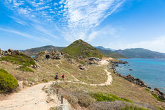 Sanguinaires bloodthirsty Islands hiking path in Corsica, France Stock Image