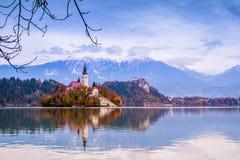 Sanguinato con il lago, la Slovenia, Europa Immagine Stock Libera da Diritti