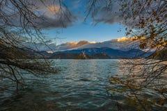 Sanguinato, la Slovenia - il bello fogliame di autunno nel lago ha sanguinato Immagini Stock