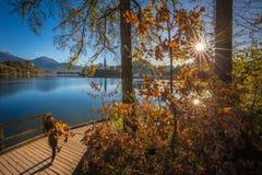 Sanguinato, la Slovenia - il turista sul movimento sul pilastro accanto al lago ha sanguinato su una bella alba di autunno Fotografia Stock