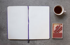 Sanguine for sketching on gray background with cup of coffee. Moskup stock illustration