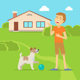 Sanguine Temperament Type Boy with Dog. Sanguine temperament type boy playing on the yard with his adorable dog. Happy and cheerful man having fun with pet Stock Photo