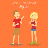 Sanguine Temperament Type People. Vector. Human temperament. Sanguine temperament type people. Medicine health human, system emotion, individuality mental energy Stock Images