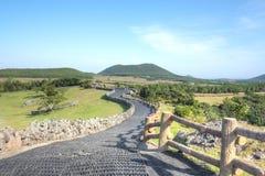 Sangumburi火山口,济州海岛 库存照片
