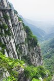Songshan Mountain Range and geological formations China. The sanhuang plank way secured to the cliff side on Mount Song in Henan Province China royalty free stock photo