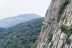 Songshan Mountain Range and sanhuang plank walkway China. The sanhuang plank way secured to the cliff side on Mount Song in Henan Province China royalty free stock photography