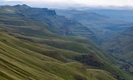 The Sani Pass, mountain pass connecting Underberg in South Africa to Mokhotlong in Lesotho. The Sani Pass, mountain pass connecting Underberg in South Africa to royalty free stock image