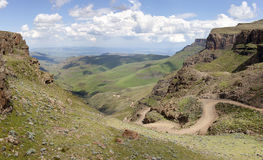 Sani Pass. Panorama on the border of South Africa and Lesotho Stock Photo