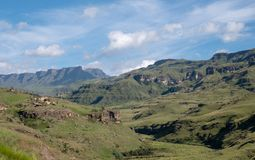 The Sani Pass, very high mountain pass which connects South Africa to Lesotho. The Twelve Apostle mountain in Sisonke which overlooks The Sani Pass, the rural stock photos