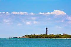 Sanibel灯塔和码头 图库摄影