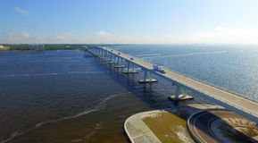 Sanibel Causeway as seen from helicopter royalty free stock photo