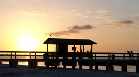 Sanibel Island Fishing Pier at Sunset Stock Photography