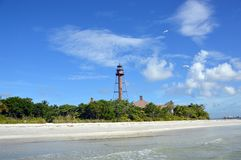 Sanibel Island Florida Lighthouse 2. Sanibel lighthouse from the shoreline of the Gulf of Mexico royalty free stock images