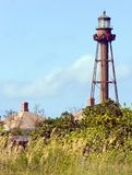 Sanibel Island Lighthouse At Christmas. Sanibel Island Lighthouse, off the Gulf coast of Florida. Active lighthouse built in 1884. Red ribbons decorate the tower royalty free stock photos