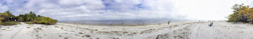 Sanibel Island panoramic view of beach near lighthouse, Florida.  royalty free stock image