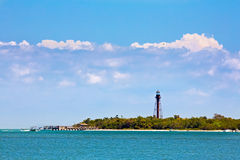 Sanibel Lighthouse and Pier stock photography
