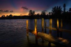 Sanibel wschodu słońca dok Zdjęcia Stock