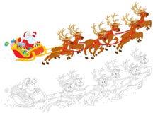 Sanie Święty Mikołaj royalty ilustracja