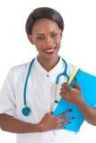 Sanità e concetto medico - medico femminile africano sorridente in ospedale Immagini Stock Libere da Diritti